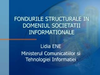 FONDURILE STRUCTURALE IN DOMENIUL SOCIETATII INFORMATIONALE