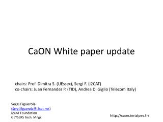 CaON  White paper update