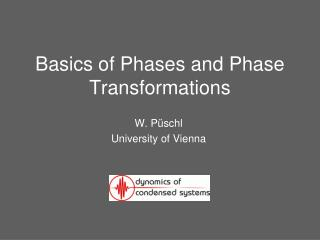 Basics of Phases and Phase Transformations
