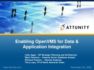 Enabling OpenVMS for Data & Application Integration