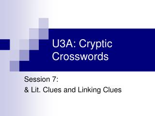 U3A: Cryptic Crosswords