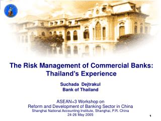 The Risk Management of Commercial Banks: Thailand's Experience