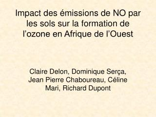 Impact des émissions de NO par les sols sur la formation de l'ozone en Afrique de l'Ouest