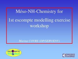 Méso-NH-Chemistry for  1st escompte modelling exercise workshop Marina COVRE (DP/SERV/ENV)