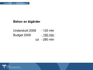 Behov av åtgärder Underskott 2008 - 120 mkr Budget 2009-  160 mkr ca - 280 mkr