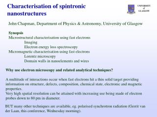 Characterisation of spintronic nanostructures