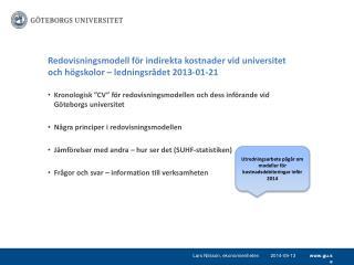 """Kronologisk """"CV"""" för redovisningsmodellen och dess införande vid Göteborgs universitet"""