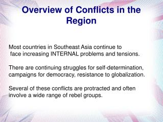 Overview of Conflicts in the Region