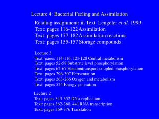 Lecture 4: Bacterial Fueling and Assimilation