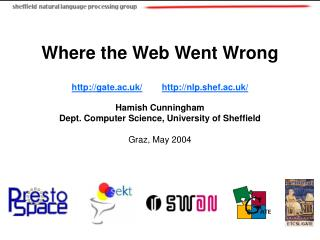 Where the Web Went Wrong gate.ac.uk/ nlp.shef.ac.uk/ Hamish Cunningham