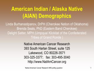 American Indian / Alaska Native (AIAN) Demographics