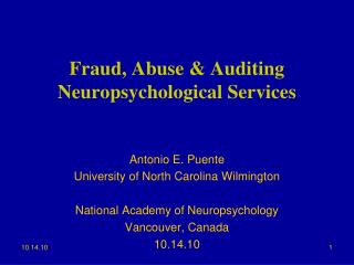 Fraud, Abuse & Auditing Neuropsychological Services
