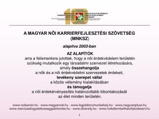 A MAGYAR NŐI KARRIERFEJLESZTÉSI SZÖVETSÉG  ( MNKSZ ) alapítva 2003-ban AZ ALAPÍTÓK