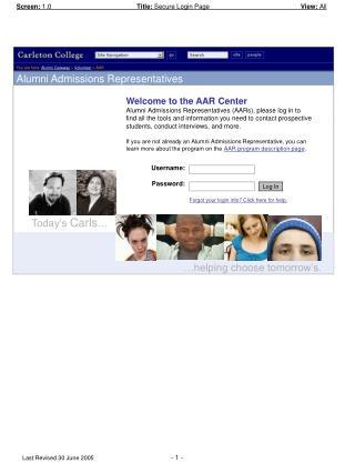You are here: Alumni Gateway > Volunteer > AAR