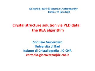 Crystal structure solution via PED data: the BEA  algorithm