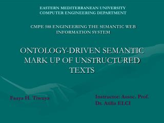 CMPE 588 ENGINEERING THE SEMANTIC WEB INFORMATION SYSTEM