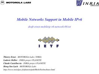 Mobile Networks Support in Mobile IPv6 draft-ernst-mobileip-v6-network-00.txt