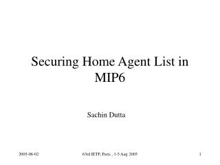 Securing Home Agent List in MIP6