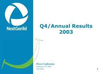 Q4/Annual Results  2003