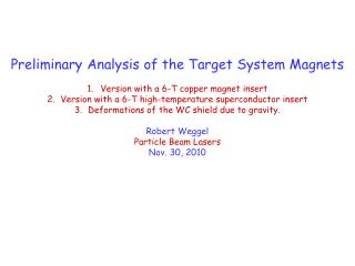 Preliminary Analysis  of the Target System Magnets Version with a 6-T copper magnet insert