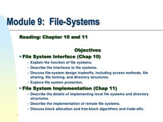 Module 9:  File-Systems