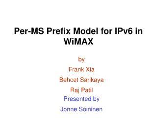 Per-MS Prefix Model for IPv6 in WiMAX