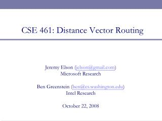 CSE 461: Distance Vector Routing