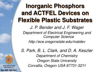 Inorganic Phosphors and ACTFEL Devices on Flexible Plastic Substrates