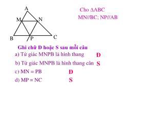 Cho  ∆ ABC