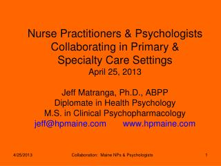 Psychologists at  Health Psych Maine