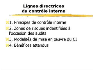 Lignes directrices du contr le interne