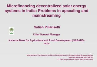 International Conference on Micro Perspectives for Decentralized Energy Supply
