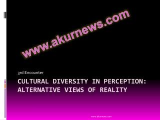 Cultural Diversity in Perception: Alternative Views of Reality