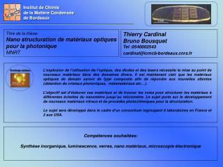 Institut de Chimie de la Mati�re Condens�e de Bordeaux