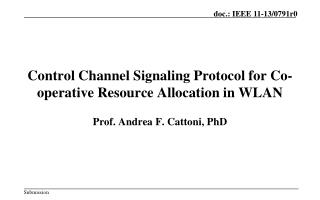 Control Channel Signaling Protocol for Co-operative Resource Allocation in WLAN