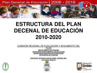 ESTRUCTURA DEL PLAN DECENAL DE EDUCACIÓN 2010-2020