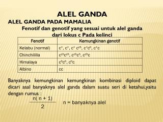 ALEL GANDA ALEL GANDA PADA MAMALIA Fenotif dan genotif yang sesuai untuk alel ganda