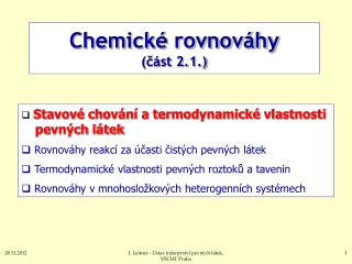 Chemické rovnováhy (část 2.1.)