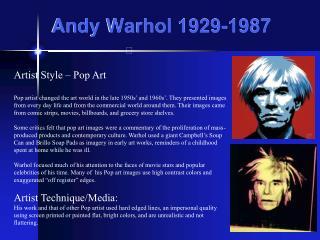 Andy Warhol 1929-1987