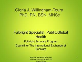 Gloria J. Willingham-Toure  PhD, RN, BSN, MNSc