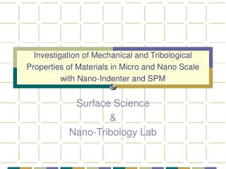 Surface Science & Nano-Tribology Lab
