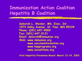 Immunization Action Coalition Hepatitis B Coalition