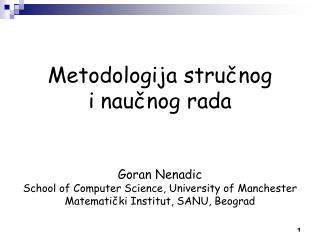 Metodologija  stručnog  i naučnog rada Goran Nenadic