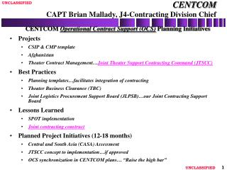 CENTCOM CAPT Brian Mallady, J4-Contracting Division Chief
