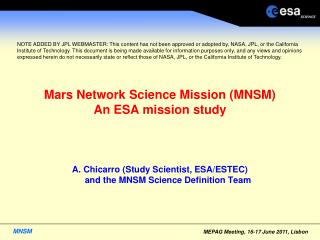 Mars Network Science Mission (MNSM) An ESA mission study