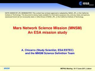 Mars Network Science Mission (MNSM) An ESA mission study
