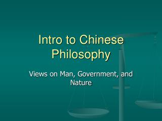 Intro to Chinese Philosophy