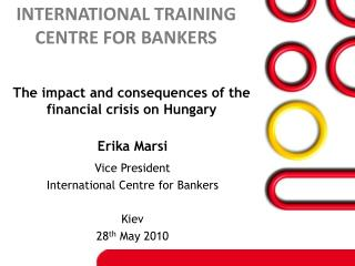 Vice President International Centre for Bankers Kiev 28 th  May 2010
