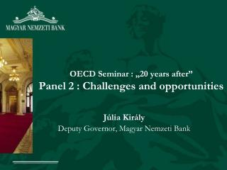 """OECD Seminar : """"20 years after"""" Panel 2 : Challenges and opportunities"""