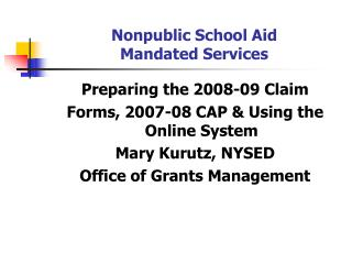 Nonpublic School Aid Mandated Services